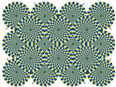 Imagem de Ilusão de Ótica com círculos que aparentam movimento.