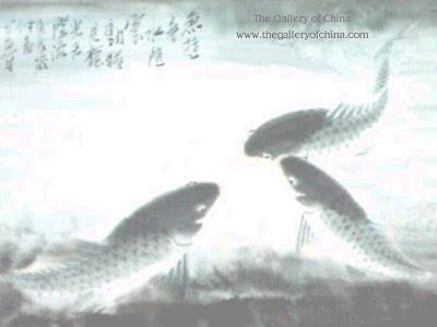 Foto para wallpaper (papel de parede) com carpas chinesas.