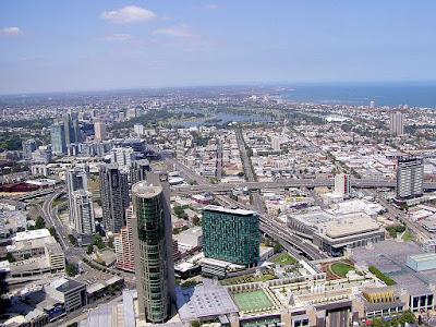 Vista aérea da paisagem de Melbourne