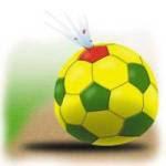 Bola de futebol furada e muchando.