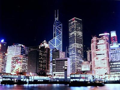 Fotografia noturna da cidade de Hong Kong - China