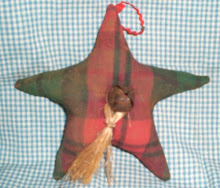 Homespun Star Ornies with rusty bell - set of three