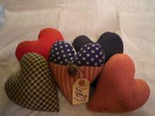Primtive Americana Heart Ornies