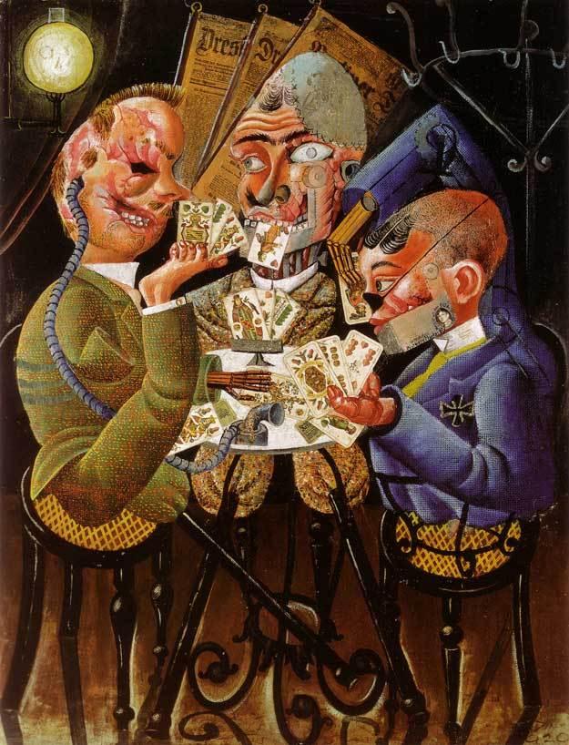 Painting: Invalides de Guerre Jouant aux Cartes, Otto Dix, 1920