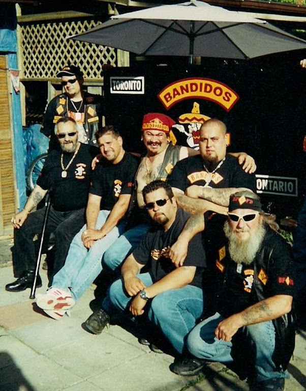 Bandidos left-right Glenn Atkinson back left standing Frank Lenti sitting Joey Crazy Horse Campbell