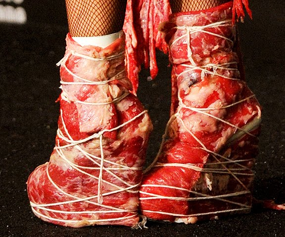 lady gaga meat dress images. MEAT DRESS FOR LADY GAGA AT
