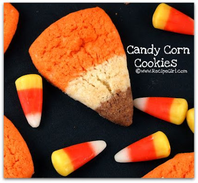 The Recipe Girl made these yummy and adorable candy corn cookies .