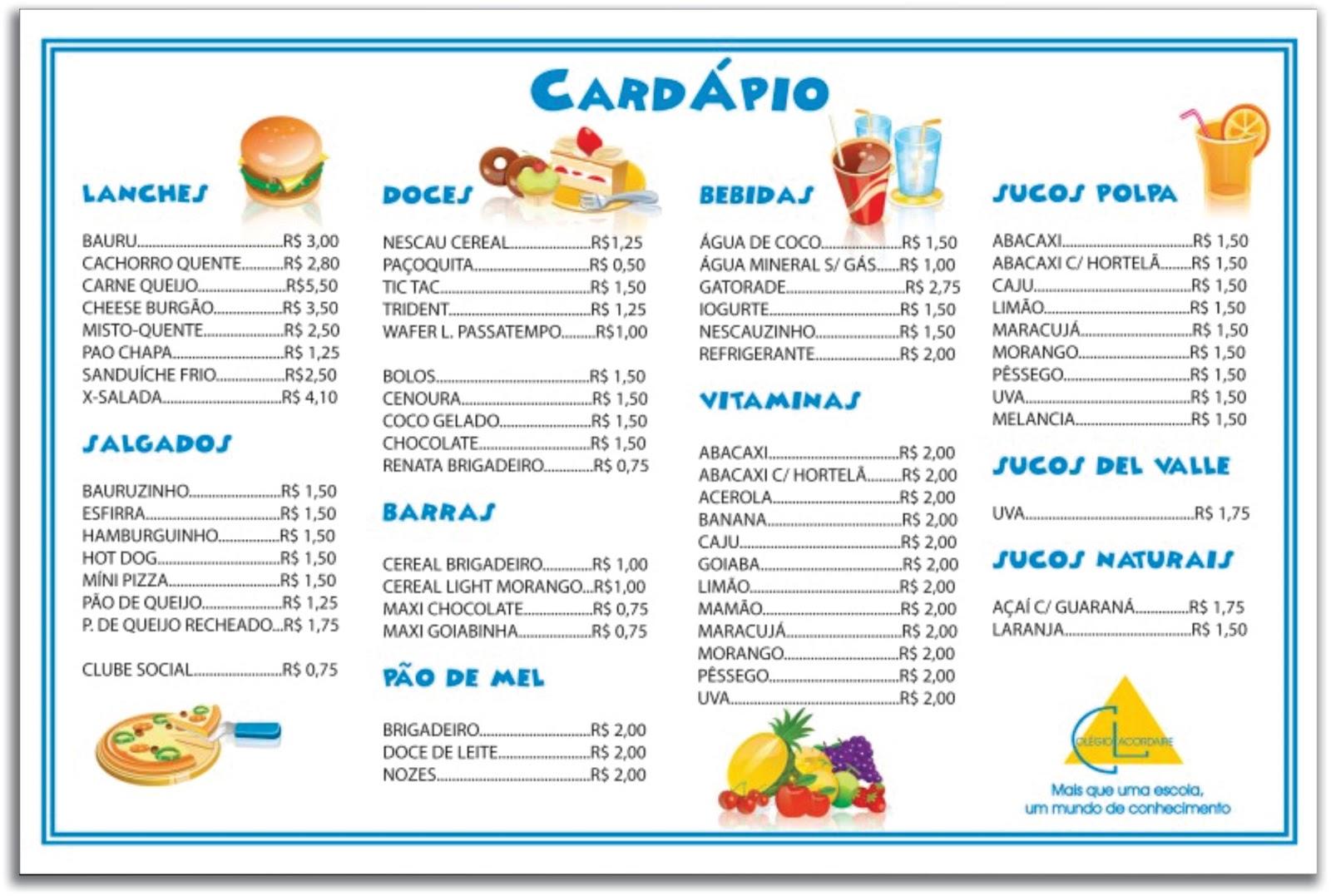 D 39 s art card pio para cantina for Propuesta para una cantina escolar