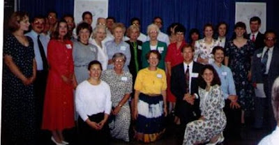 A 1994 re-union of adults who grew up around Concordia College (Concordia University) in Seward, Nebraska. The image was scanned from a photograph belonging to Gene Meyer.