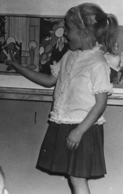 Tricia Sylwester in first grade at St John Elementary School in Seward, Nebraska. The image was scanned from a photograph belonging to Lee Meyer.