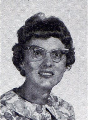 Edna Grotelueshcen, teacher of the first grade at St John Elementary School in Seward, Nebraska. The picture was scanned from the 1965-1966 school yearbook.
