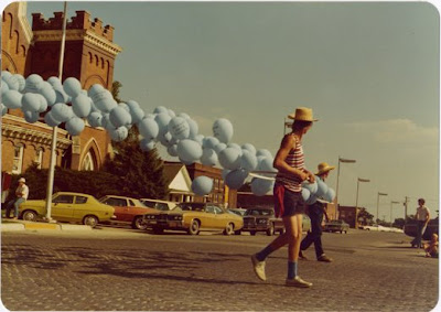 Balloon float of Reinhold Marxhausen at a parade on the Fourth of July in Seward, Nebraska. The source of the image is unknown.