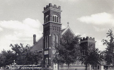 Old St John Lutheran Church in Seward, Nebraska. The image was scanned from an old postcard.