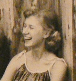 Dorris Marxhausen as a young woman, laughing. Image taken from http://karl.marxhausen.net/blog/labels/Dorris%20Marxhausen.html