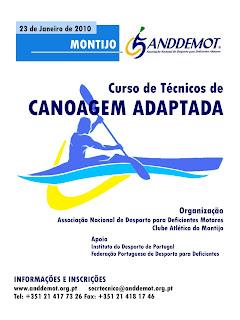 Cartaz de Curso de técnicos de canoagem adaptada