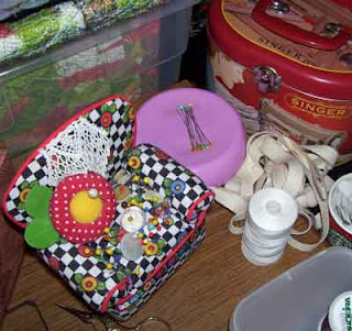 Two more pincushions - a 'chair' and magnetic pin holder