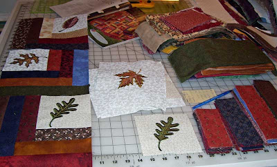 Everything laid out on the cutting table for leaf quilt.