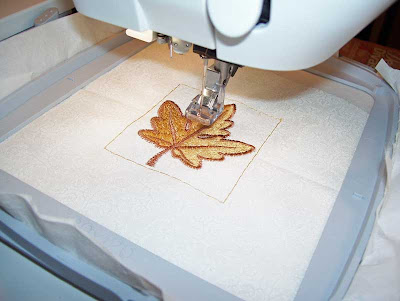 Embroidering more autumn leaves with Anita Goodesign embroidery designs.