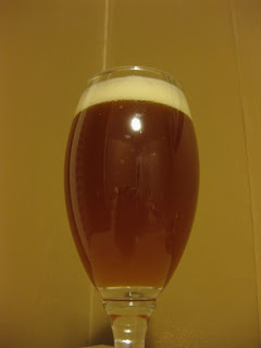 A glass of smoked spruce gruit kvass, murky.