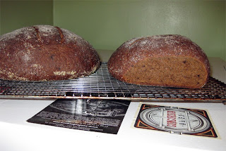 Two loaves of pumpernickel I baked.