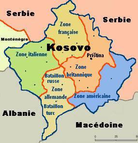 carte KFOR du Kosovo