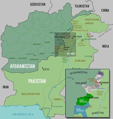 carte de la frontière afghano-pakistanaise
