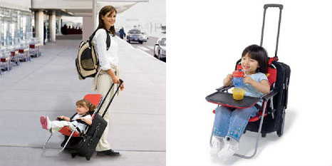 Ride On Carry On: converts any wheeled luggage into a convenient travel stroller