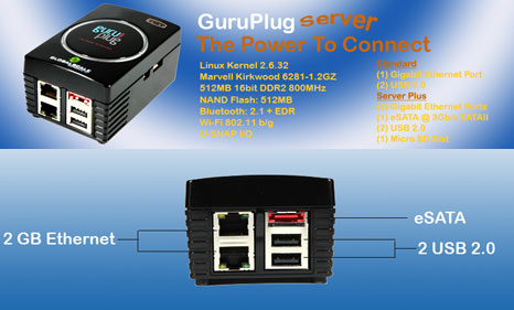GuruPlug Server Plus: equipped with eSATA and 2 ports Ethernet