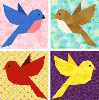 Bluebird of Happiness - paper piecing quilt block pattern by Piece By Number