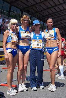 La 4x400 W45: Maria Polina, Mirella Giusti, Anna Pagnotta e Gabriella Ramani