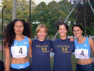 La 4x100 over-30: Lusia Puleanga, Rosa  Marchi, Daniela Marconi e Loredana Cimarelli