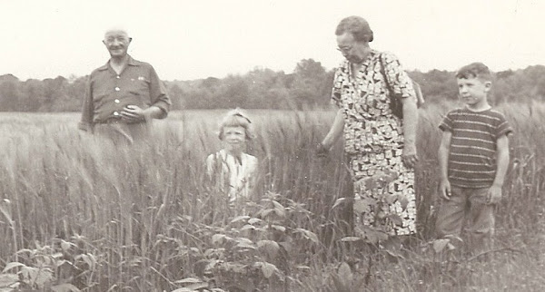 Jim, Betty, Bess & Johnny walking the fields.