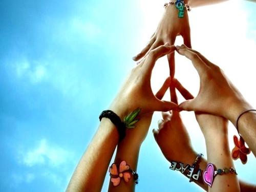 amor y paz hippie. el signo de amor y paz. el
