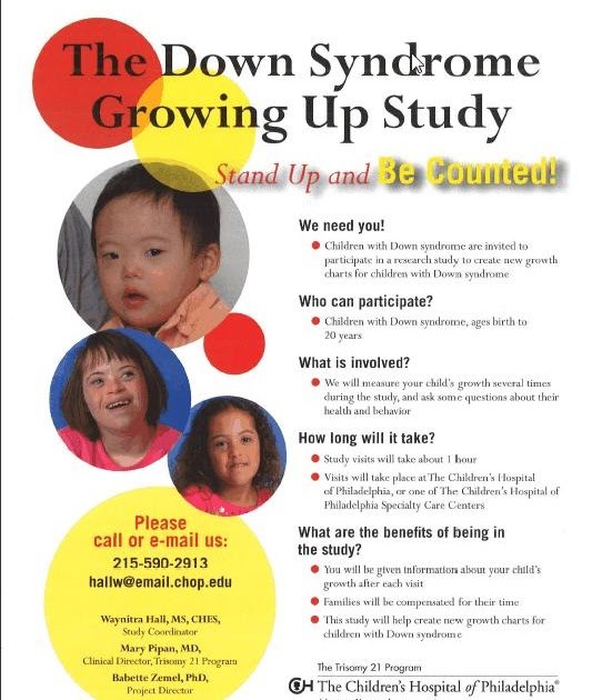 a study of down syndrome The results of this study clearly documented the need for all infants with down syndrome to be evaluated by a pediatric cardiologist and an echocardiogram at birth or shortly thereafter – this is now clearly recommended in the down syndrome health care guidelines.