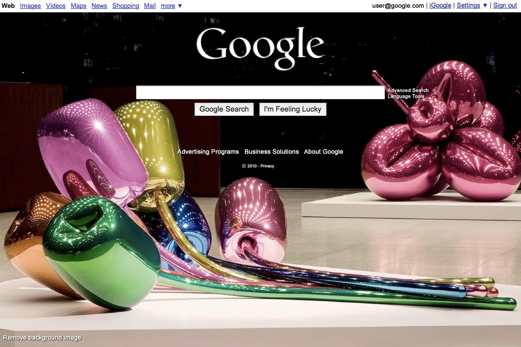 Koons Screenshot now you can decorate your Google search page :)