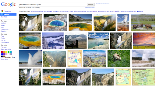 New Google image search results display