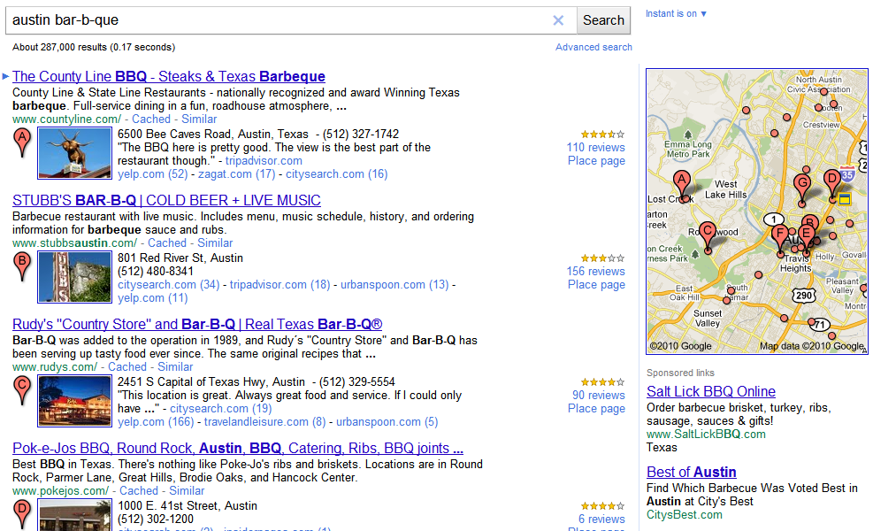 Google Place Search example