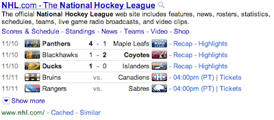 Google tražilica sa Instant Previews, NHL i hitni slučajevi
