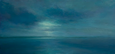 oil painting by artist Colin Barclay of placid evening sea near Newfoundland
