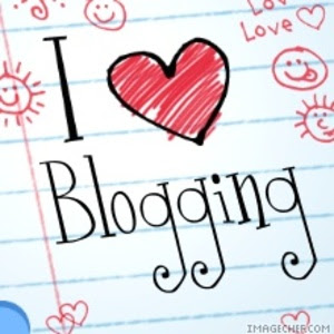a drawing in black and red that say I love blogging
