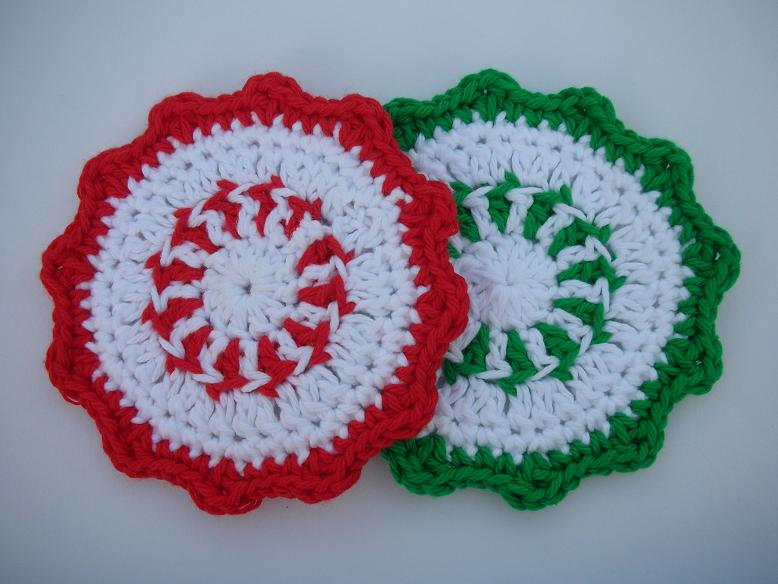 Free Crochet Santa Claus Coaster Pattern : PEPPERMINT CANDY CROCHET PATTERNS ? Easy Crochet Patterns