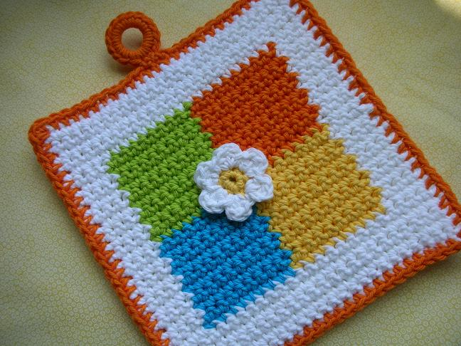 Free Crochet Flower Potholder Patterns Dancox For