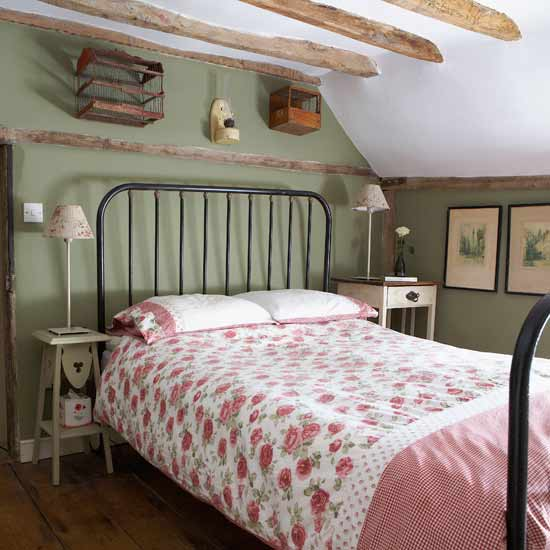 Perfect Country Bedroom Pink And Green Iron Bed Gingham Wood