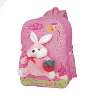 tas sekolah warna pink dengan aplikasi boneka cantik plus motif