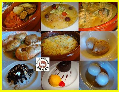 escalivada amb salsa d'anxoves - bacallà marinat - ànec amb naps – ous farcits de rap amb escamarlans - gratinat d'albergínies amb llagostins - gelat de ratafia i nous - pa de pessic amb mousse de cafè banyat amb xocolata calenta - coulant de xocolata amb gelat de mango - sorbet de llimona amb marc de cava
