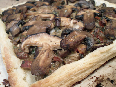 Rustic mushroom tart with crimini and portobellow mushrooms from the Trout Lake Farmers Market and homemade, one-day puff pastry. Classic French flavours at its best!