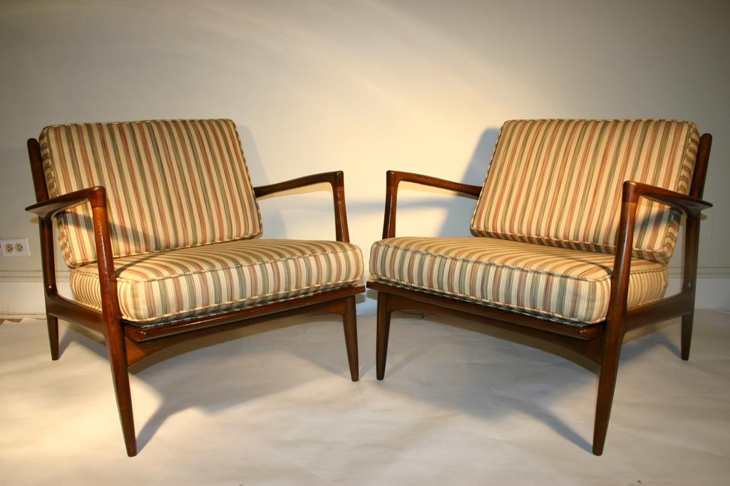 Danish Modern SELIG Walnut Lounge Chairs