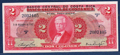 Costa Rica currency paper money Colones