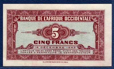 5 Five Francs French West Africa banknote 1942