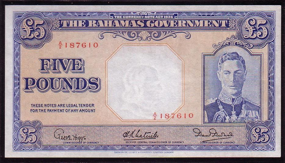 Bahamas Banknotes 5 Pounds Note Of 1936 King George Vi